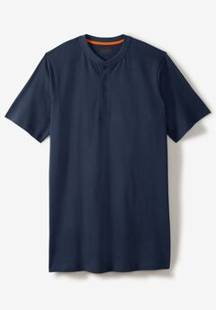 Heavyweight Longer-Length Short-Sleeve Henley Shirt by Boulder Creek®,