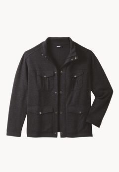 Sweater Fleece Multi-Pocket Jacket, SLATE BLUE MARL