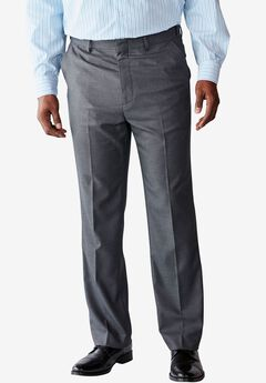 Easy-Care Classic Fit Expandable Waist Plain Front Dress Pants, GREY