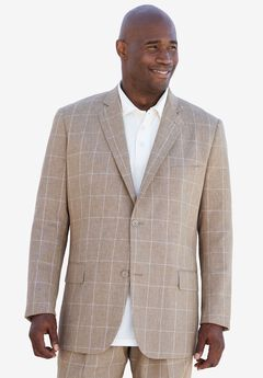 Linen Blend Two-Button Suit Jacket by KS Island™, TAN WINDOW PANE, hi-res