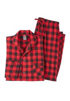 Hanes® Flannel Pajamas, RED BLACK, hi-res