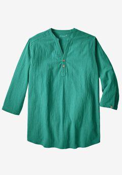 Gauze Mandarin Collar Shirt, EMERALD, hi-res