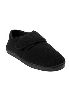 Velcro-Close Slippers, BLACK, hi-res