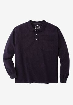 Long Sleeve Polo by Liberty Blues®, HEATHER CHARCOAL, hi-res