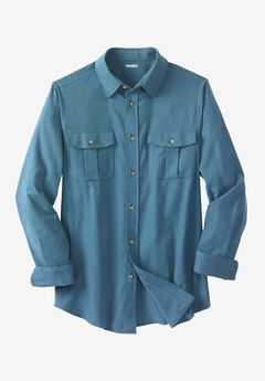 Solid Double-Brushed Flannel Shirt, SLATE BLUE