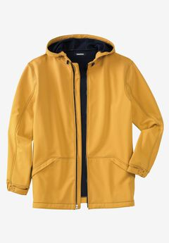 Fleece-Lined Rain Coat, MUSTARD