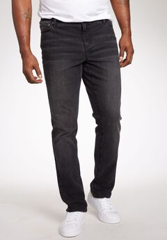 Relaxed Tapered Fit 5-Pocket Stretch Jeans by Liberty Blues®, NEW BLACK, hi-res