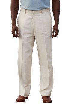 Linen Blend Plain Front Pants by KS Island™, NATURAL PINSTRIPE, hi-res