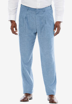 Linen Blend Double-Pleat Front Pants by KS Island™,