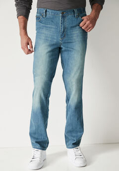 Straight Fit Side Elastic 5-Pocket Jeans by Liberty Blues®, LIGHT WASH