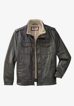 Faux Leather Stand Collar Military Jacket by Levi's®, DARK BROWN, hi-res