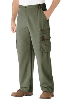 Ripstop Expedition Cargos by Boulder Creek®, OLIVE, hi-res