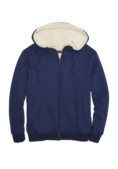 Sherpa-Lined Fleece Zip Hoodie,