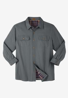 Flannel-Lined Twill Shirt Jacket by Boulder Creek®, STEEL