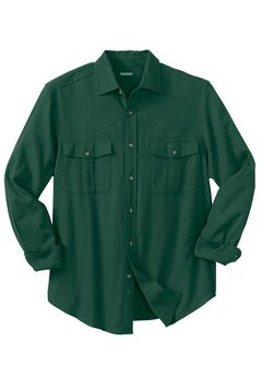 Solid Double-Brushed Flannel Shirt, HUNTER