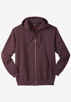 Fleece Zip-Front Hoodie, RAISIN
