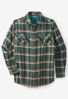 Long-Sleeve Plaid Flannel Shirt, HUNTER PLAID