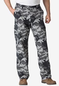 Renegade Cargo Pants with Side Elastic by Boulder Creek®, BLACK CAMO, hi-res