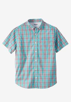Short Sleeve Performance Sport Shirt , TIDAL GREEN PLAID, hi-res