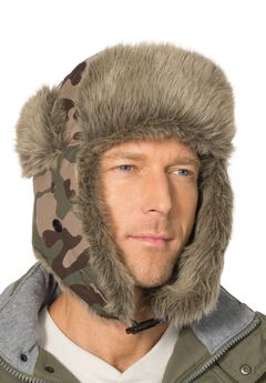 Extra Large Fur Trim Hat, OLIVE CAMO, hi-res