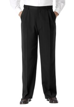 No Hassle® Classic Fit Expandable Waist Double-Pleat Dress Pants by KS Signature, BLACK