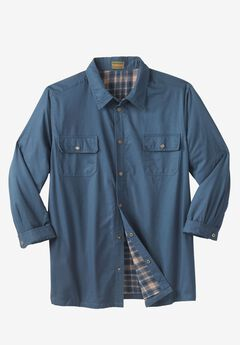 Flannel-Lined Twill Shirt Jacket by Boulder Creek®, SLATE BLUE
