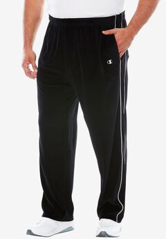 Velour Piped Track Pants by Champion®, BLACK, hi-res