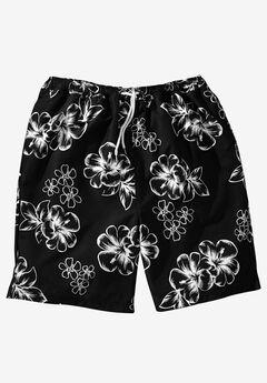 Hibiscus Print Trunks, BLACK, hi-res