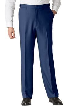Easy-Care Classic Fit Expandable Waist Plain Front Dress Pants,