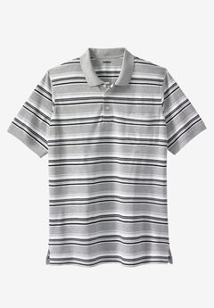Longer-Length Piqué Pocket Polo, HEATHER GREY MULTI STRIPE