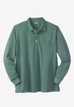 Long-Sleeve Piqué Polo Shirt , DEEP EMERALD