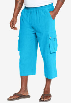 Judo Gauze Cotton Cargo Shorts with Full Elastic Waist, OCEAN BLUE, hi-res
