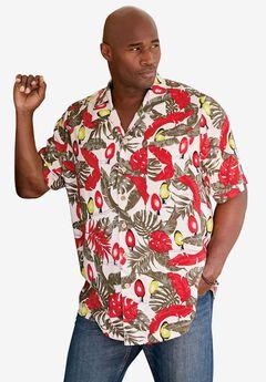 Island Print Rayon Shirt by KS Island™, HOLIDAY PALM