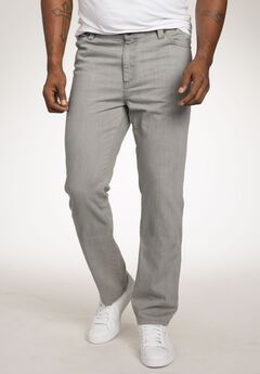 Relaxed Tapered Fit Side Elastic 5-Pocket Jeans by Liberty Blues®, GREY WASH, hi-res