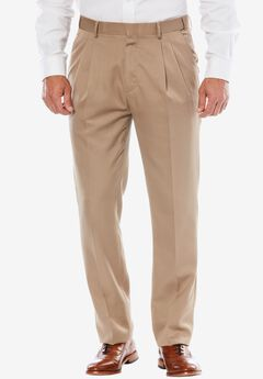 No Hassle® Classic Fit Expandable Waist Double-Pleat Dress Pants by KS Signature, TAUPE