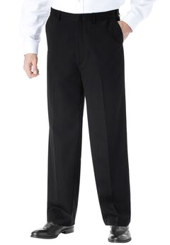 No Hassle® Classic Fit Expandable Waist Plain Front Dress Pants by KS Signature,