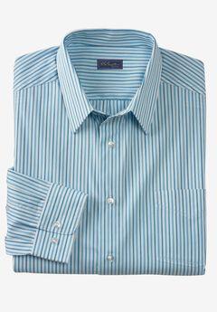 Modern Fit Long-Sleeve Broadcloth Flex Dress Shirt by KS Signature, BLUE STRIPE