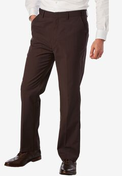 No Hassle® Classic Fit Expandable Waist Plain Front Dress Pants by KS Signature, BROWN