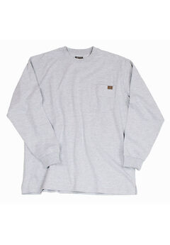Long-Sleeve Cotton Tee with Pocket by Wrangler®, ASH HEATHER, hi-res