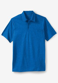 Shrink-Less™  Lightweight Short-Sleeve Polo Tee, ROYAL BLUE HEATHER