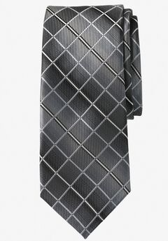 Extra Long Check Tie by KS Signature, BLACK CHECK, hi-res