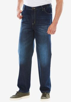 Relaxed Fit Side Elastic 5-Pocket Jeans by Liberty Blues®, MEDIUM BLUE, hi-res