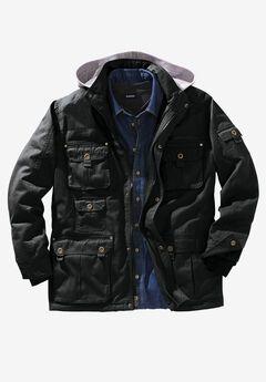 Multi-Pocket Lined Twill Jacket by Boulder Creek®, BLACK, hi-res