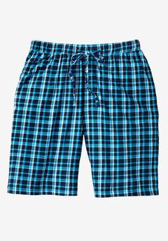 Hanes® 2-Pack Sleep Shorts, BRIGHT NAVY BLUE PLAID, hi-res