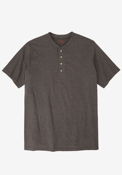 Heavyweight Longer-Length Short-Sleeve Henley Shirt by Boulder Creek®, HEATHER SLATE, hi-res