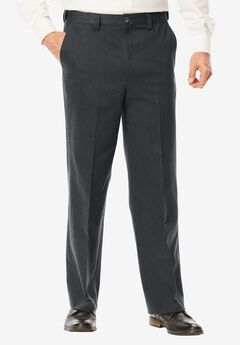 Wrinkle Free Expandable Relaxed Fit Plain Front Pants, CHARCOAL, hi-res