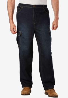 Relaxed Fit Cargo Denim Sweatpants,