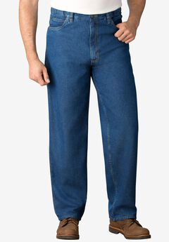 Expandable Waist Relaxed Fit Jeans, STONEWASH, hi-res