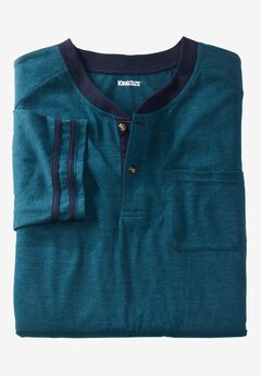 Short-Sleeve Henley Nightshirt, HEATHER MIDNIGHT TEAL, hi-res
