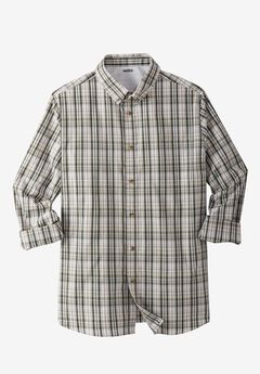 Shrink-Less™ Long-Sleeve Sport Shirt, OLIVE PLAID